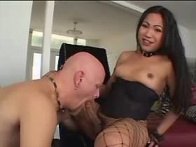 Bald bloke gets cumshot from naughty asian shemale