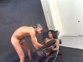 Ebony tranny in stockings gets assfucking and jizzes