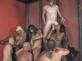 Four slave guys suck three ardent trannyes in orgy