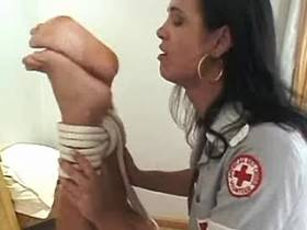 Brunette shemale nurse gives brutal lesson for tied guy