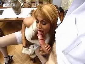 Blond shemale in sexy outfit gets massive anal and jizz
