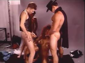 Clever redhead tranny fucks with four men and cums