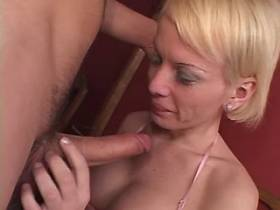 Blond guy fucked by blond TS after perfect blowjob
